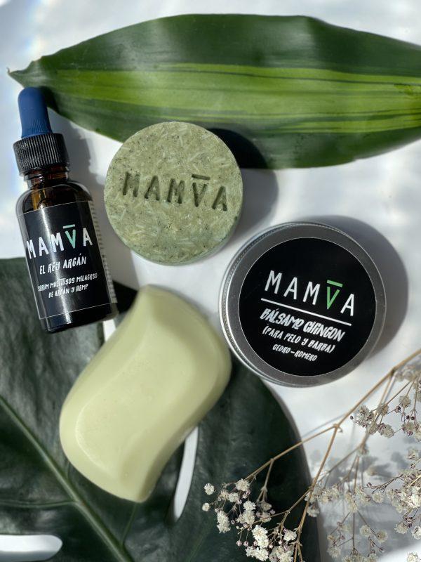 kit shampoo y acondicionador en barra, aceite de argán y cera moldeadora de pelo y barba.